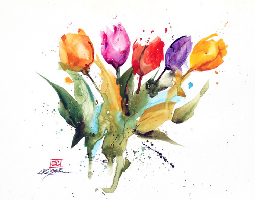 """TULIPS"" limited edition flower art from an original watercolor painting by Dean Crouser. This watercolor painting depicts group of of Dean Crouser's loose and colorful spring tulips in full bloom. Available in a variety of products including ceramic tiles and coasters, greeting cards, limited edition prints and more. L/E prints are signed and numbered by the artist and edition size limited to 400. Be sure to visit Dean's other hummingbird, bird, wildlife, and nature watercolor paintings."