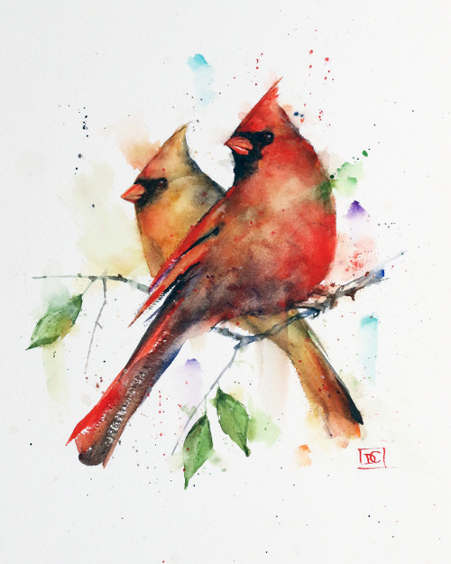 """CARDINAL PAIR"" limited edition songbird art from an original watercolor painting by Dean Crouser. This watercolor painting depicts a pair of of Dean Crouser's loose and colorful cardinals perched on a branch. Available in a variety of products including ceramic tiles and coasters, greeting cards, limited edition prints and more. L/E prints are signed and numbered by the artist and edition size limited to 400. Be sure to visit Dean's other hummingbird, bird, wildlife, and nature watercolor paintings."