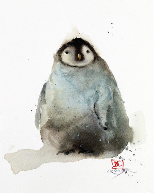 """""""BABY PENGUIN"""" watercolor wildlife print from an original painting by Dean Crouser. Available in a variety of products including limited edition signed and numbered prints, tiles and coasters, greeting cards and more. L/E prints are limited to 400 prints in series."""