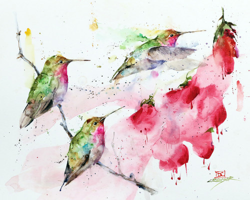 """""""HUMMINGBIRDS and FLOWERS"""" limited edition hummingbird art from an original watercolor painting by Dean Crouser. This image depicts three of Dean Crouser's loose and colorful hummingbirds ascending upon a group of flowers. Available in a variety of products including ceramic tiles and coasters, greeting cards, limited edition prints and more. L/E prints are signed and numbered by the artist and edition size limited to 400. Be sure to visit Dean's other hummingbird, bird, wildlife, and nature watercolor paintings."""
