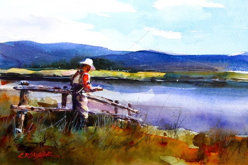 """""""TYING UP"""" fishing art from an original watercolor painting by Dean Crouser. Available in a wide variety of products including signed and numbered limited edition prints, ceramic tiles and coasters, greeting cards and more. S/N prints limited to 400 in edition."""