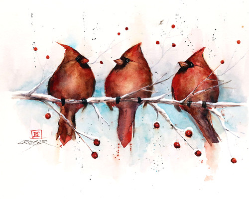"""THREE WINTER CARDINALS"" songbird art from an original painting by Dean Crouser. Available in a variety of products including limited edition signed and numbered prints, ceramic tiles and coasters, greeting cards and more."