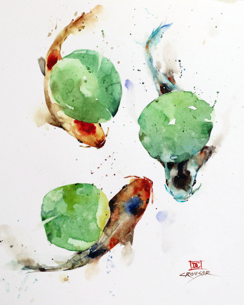 """KOI & LILY PADS"" original watercolor painting by Dean Crouser. This original fish painting depicts three koi swimming under a group of lily pads. Measures approximately 9"" wide by 10-3/4"" tall. Artist retains any and all rights to future use of this image. Thanks for looking!"