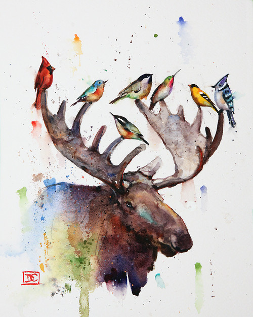 """BIRDS of a FEATHER"" moose and songbird art from an original watercolor painting by Dean Crouser. This image features a bull moose surrounded by his local bird friends. Available in a variety of options that include signed and numbered prints, ceramic tiles, greeting cards and more. Signed and numbered prints limited to edition size of 400 prints."