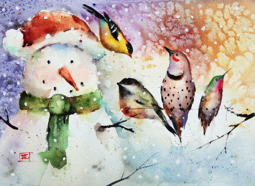 """""""DECEMBER AFTERNOON"""" snowman and songbird art from an original painting by Dean Crouser. Available in a variety of options including limited edition prints, ceramic tiles and coasters, greeting cards and more. Ltd edition prints are signed and numbered and edition limited to 400 prints."""