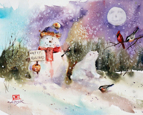 """SNOWMAN, BEAR and MOON"" watercolor art from an original painting (original has been sold). This painting depicts a holiday snowman being joined by a polar bear cub and local songbirds. All under the watchful eye of a full moon. Available in a variety of products including limited edition signed and numbered prints, ceramic tiles and coasters, greeting cards and more."