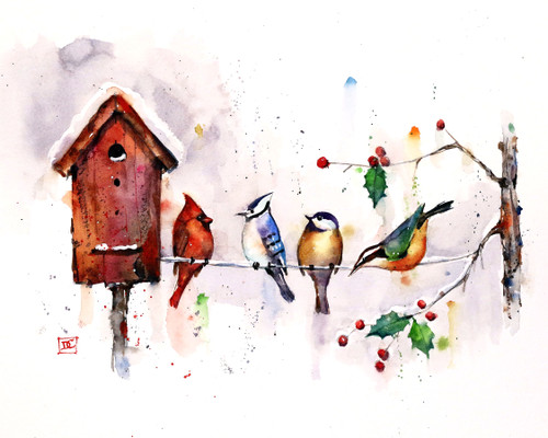 """""""WINTER BIRDHOUSE"""" art from one of Dean's original watercolor paintings (original is sold). This painting depicts a gathering of winter birds that include a cardinal, chickadee, bluejay and nuthatch around the local birdhouse. Available in a variety of products including limited edition signed and numbered prints, ceramic tiles and coasters and greeting cards."""