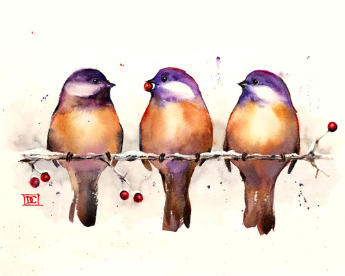 """ENOUGH FOR EVERYONE"" bird art from one of Dean's original watercolor paintings (original has been sold"". Available in a variety of options that include limited edition signed and numbered prints, ceramic tiles and coasters, greeting cards and more."