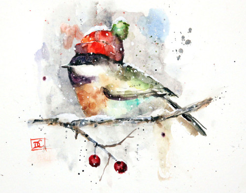 """CHICKADEE in CAP"" depicts a winter chickadee nestled in with a warm knit hat. Available in a variety of products including limited edition signed and numbered prints, ceramic tiles and coasters greeting cards and more."