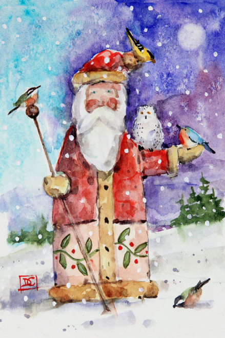 """SANTA & BIRDS"" holiday art from one of Dean's original watercolor paintings (original has been sold). This painting depicts an evening gathering of Santa and his bird friends. Available in a variety of products including limited edition signed and numbered prints, ceramic tiles and coasters greeting cards and more."
