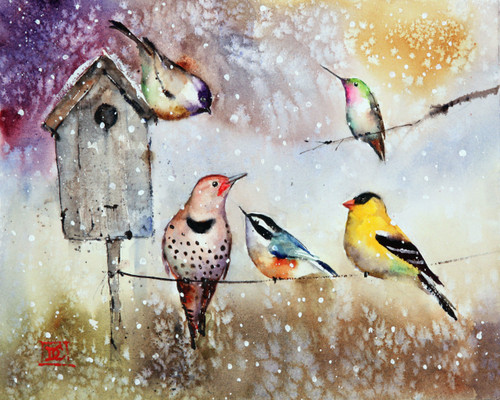 """""""SUNNY DAY SNOW SHOWER"""" holiday art from one of Dean's original watercolor paintings. This painting depicts several winter birds gathering at the local birdhouse. It is just starting to snow on an otherwise sunny day. Available in a variety of products including limited edition signed and numbered prints, ceramic tiles and coasters greeting cards and more."""