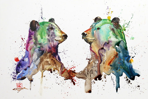 """'BEAR PAIR"""" watercolor art from an original bear watercolor painting by Dean Crouser. Available in a variety of products including signed and numbered limited edition prints, ceramic tiles and coasters, greeting cards and more."""
