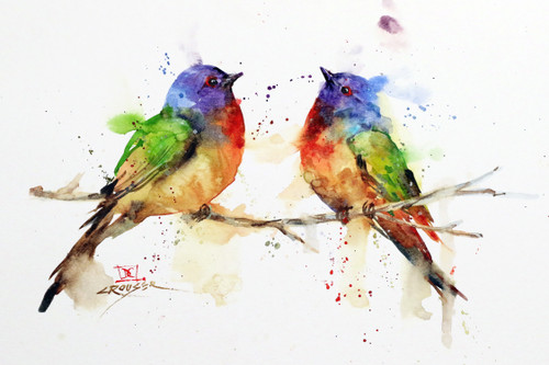 """BUNTING PAIR"" original watercolor painted bunting bird painting by Dean Crouser.  This painting measures approximately 9-1/2"" x 7"" tall. Here is a great opportunity to own a DC original! Artist retains any and all rights to future use of this image."