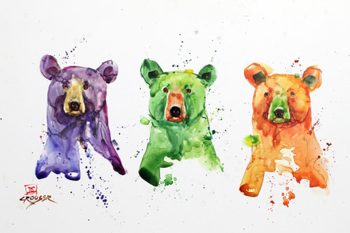 """THREE BEARS"" bear art from an original watercolor painting by Dean Crouser. Available in a variety of products including limited edition signed and numbered prints, ceramic tiles and coasters, greeting cards and more."