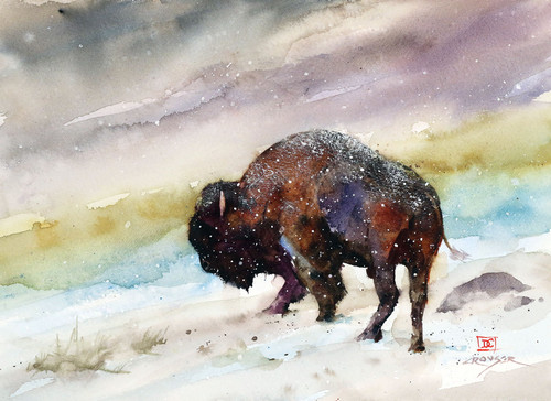 """""""LAST STAND"""" original buffalo watercolor painting by Dean Crouser. This original bison painting measures approximately 10-1/2"""" wide by 7-1/2"""" tall. Professionally packaged for safe shipping. Here's a great opportunity to own a DC original! Artist retains any and all rights to future use of this image. Thanks for looking!"""