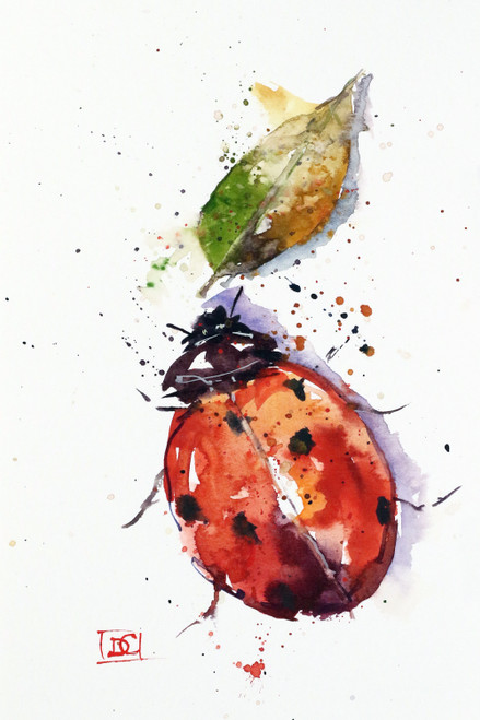 """""""LADYBUG"""" watercolor art from an original painting by Dean Crouser. This image is available in a variety of products including limited edition prints, ceramic tiles and coasters, greeting cards and more."""