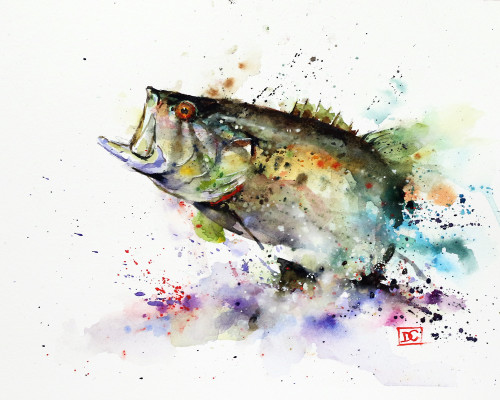 """JUMPING LARGEMOUTH"" bass art from an original watercolor painting by Dean Crouser. Available in a wide variety of products including limited edition signed and numbered prints, ceramic tiles and coasters, greeting cards and more."
