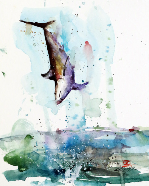 """MAKO!' original watercolor painting by Dean Crouser. This painting features a jumping Mako shark that was inspired by a fish that Dean caught on a recent trip the Sea of Cortez. Mako sharks are regarded as perhaps the best jumpers in the fishing world and this one was no exception. This original painting measures approximately 6-1/2"" wide by 9"" tall. Here's a great opportunity to own a DC original! Artist retains any and all rights to future use of this image. Thanks for looking!"