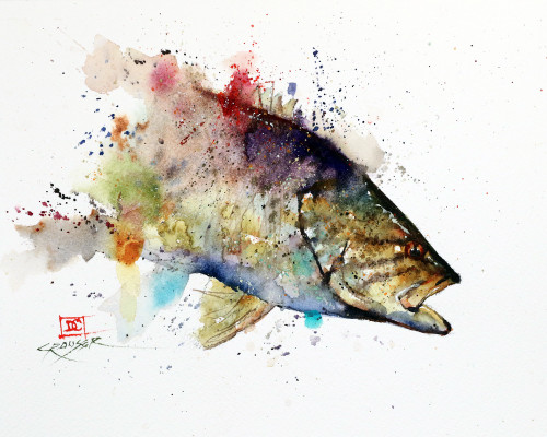 """SMALLMOUTH BASS"" original watercolor fish painting by Dean Crouser. This original painting measures approximately 10"" wide by 7-1/2"" tall. Here's a great opportunity to own a DC original! Artist retains any and all rights to future use of this image. Thanks for looking!"