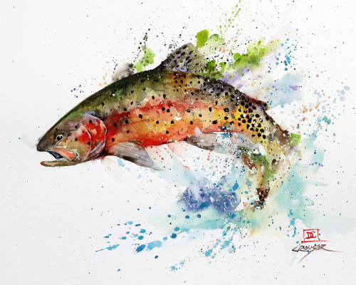 """GREENBACK CUTTHROAT"" trout art from an original watercolor fish painting by Dean Crouser. Available in a variety of products including limited edition prints, ceramic tiles and coasters, greeting cards and more. Thanks for looking!"