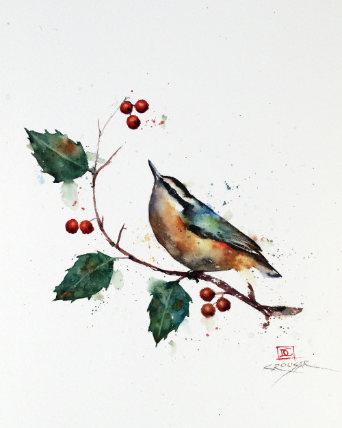 """""""NUTHATCH & HOLLY"""" original watercolor bird painting by Dean Crouser. This image features a little nuthatch perched below a clump of berries on a holly branch. This original painting measures 8-3/4"""" wide by 11-1/2"""" tall. Here's a great opportunity to own a DC original! Artist retains any and all rights to future use of this image. Thanks for looking!"""