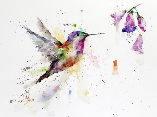 """FUSCHIA"" original hummingbird watercolor painting by Dean Crouser. This image features a colorful hummingbird approaching several nearby fuchsia flowers. Measures approximately 11-3/4"" wide by 9"" tall. Here is a great opportunity to purchase a DC original! Artist retains any and all rights to future use of this image. Thanks for looking!"