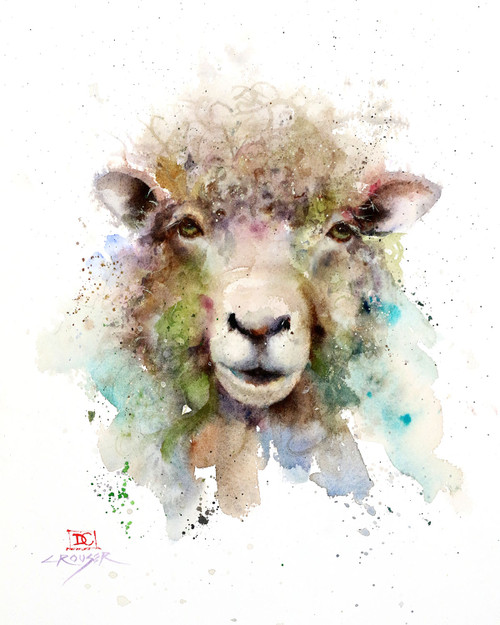 """""""SHEEP"""" watercolor art from an original painting by Dean Crouser. Available in a variety of products including signed and numbered prints, ceramic tiles and coasters, greeting cards and more. Thanks for looking!"""