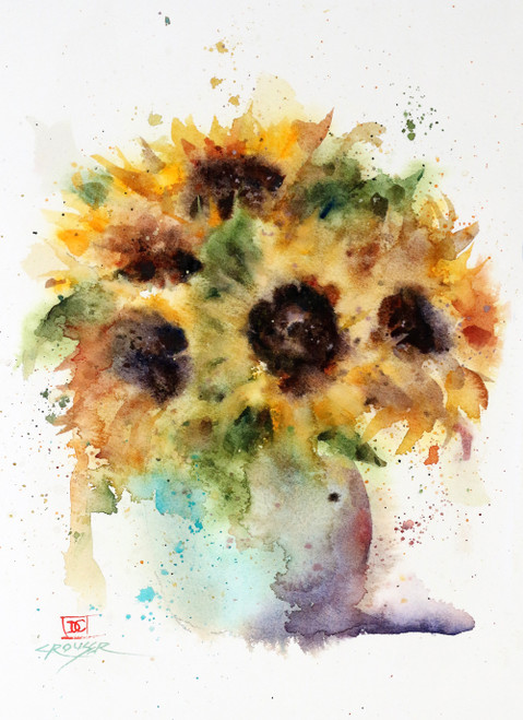 """SUNFLOWER VASE"" art from an original watercolor painting by Dean Crouser. Available in a variety of products including signed and numbered limited edition prints, ceramic tiles and coasters, greeting cards and more."