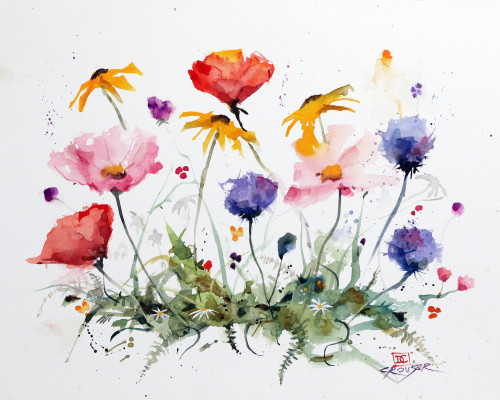 """""""WILDFLOWERS"""" flower art from an original floral watercolor painting by Dean Crouser. Available in a variety of products including limited edition signed and numbered prints, ceramic tiles and coasters, greeting cards and more."""
