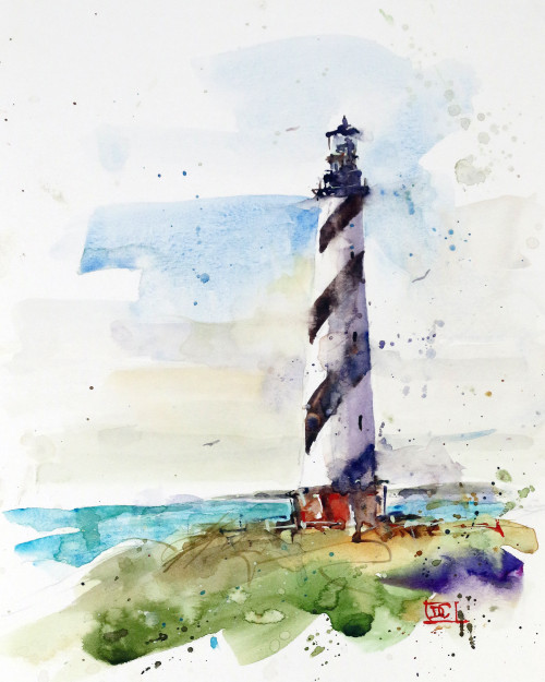 """LIGHTHOUSE, Sketch 3"" original watercolor painting by Dean Crouser. This original painting features a lighthouse on a bright summer's day painted in Dean's loose, colorful style. This painting measures approximately 7"" wide by 9"" tall. Here's a great opportunity to own a DC original! Artist retains any and all rights to future use of this image. Thanks for looking!"