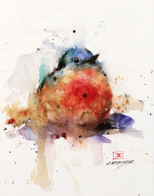 """BABY BLUEBIRD, Sketch"" original watercolor painting. Several years ago Dean painted a few different baby bluebirds and he recently came across this one that had been packed away. This original painting measures approximately 6"" wide by 8"" tall. Enjoy!"