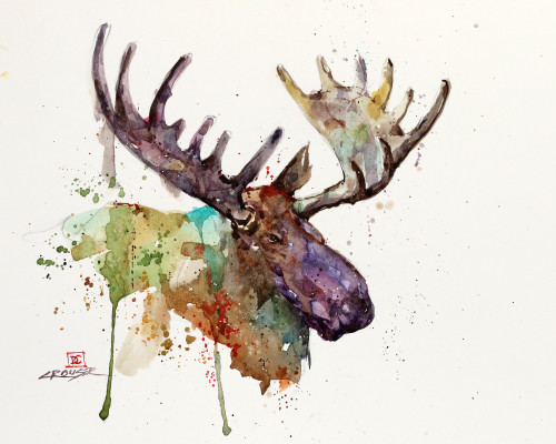 """MOOSE, Sketch 2"" original watercolor painting by Dean Crouser. This original painting measures approximately 11"" tall by 12"" wide. Here's a great opportunity to own a DC original! Artist retains any and all rights to future use of this image. Copyright Dean Crouser©"