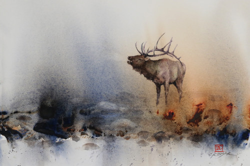 """MORNING CALL"" elk art from an original watercolor painting by Dean Crouser. Available in a variety of products including limited edition signed and numbered prints, ceramic tiles and coasters, greeting cards and more."