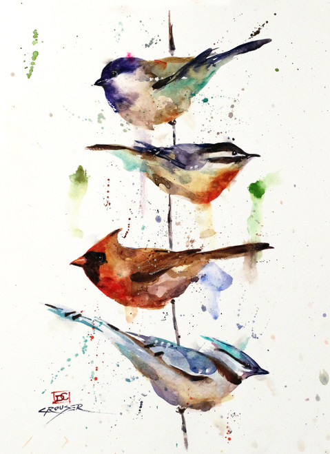 """The PERCH"" bird art from an original watercolor painting by Dean Crouser. This image features a cardinal, nuthatch, chickadee and blue jay meeting up at the local perch. Available in a variety of products including limited edition signed and numbered prints, ceramic tiles and coasters, greeting cards and more."
