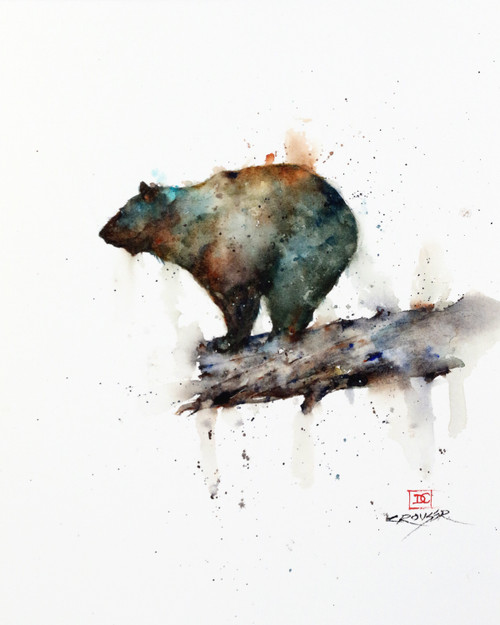 """BLACK BEAR, Sketch"" original watercolor painting by Dean Crouser. This is a preliminary smaller sketch for a painting that I will do down the road. This painting features a black bear who ventured to the end of a log and is pondering where to go from here. This original painting measures approximately 8-3/4"" wide by 11-1/2"" tall. Here's a great opportunity to own a DC original! Artist retains any and all rights to future use of this image. Thanks for looking!"