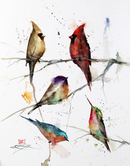 """BIRDS IN TREE, Sketch"" original watercolor painting by Dean Crouser. This original bird painting features a pair of cardinals, a chickadee, bluebird and hummingbird meeting up in the local tree. Here's a great opportunity to own a DC original. Artist retains any and all rights to future use of this image."