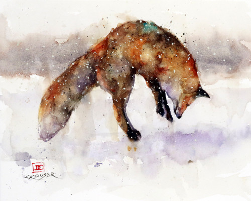 """JUMPING FOX"" animal art from an original watercolor painting by Dean Crouser. This image features a red fox suspended in air above a critter hunkered down in the snow. Available in a variety of products including signed and numbered limited edition prints, ceramic tiles and coasters, greeting cards and more."