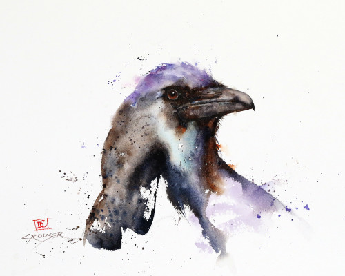 """""""RAVEN"""" bird art from an original watercolor painting by Dean Crouser. Lots of of color and movement in this one! Available in a variety of products including signed and numbered limited edition prints, ceramic tiles and coasters, greeting cards and more."""