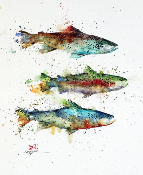 """THREE TROUT, Sketch"" original watercolor painting by Dean Crouser. This original fish painting measures approximately 9-1/2"" wide by 11"" tall. Here is a great opportunity to own a DC original!Artist retains any and all rights to future use of this image. Copyright Dean Crouser©. Thanks for looking!"