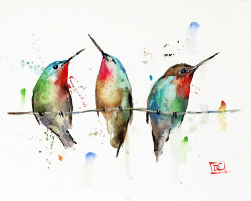 """THREE HUMMINGBIRDS, Sketch"" original watercolor painting by Dean Crouser. This original hummingbird painting measures approximately 7"" wide by 5"" tall. Here is a great opportunity to own a DC original!Artist retains any and all rights to future use of this image. Copyright Dean Crouser©. Thanks for looking!"