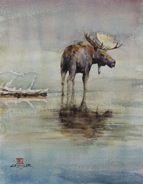 """""""MOOSE in LAKE"""" original watercolor painting. This painting measures approximately 10-1/2"""" wide by 13-1/2"""" tall. Here is a great opportunity to own a DC original! Artist retains any and all rights to future use of this image. Copyright Dean Crouser©"""
