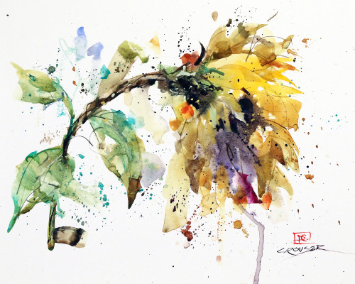 """""""ABSTRACT SUNFLOWER"""" art from an original floral watercolor painting by Dean Crouser. Available in a variety of products including signed and numbered limited edition prints, ceramic tiles and coasters, greeting cards and more."""