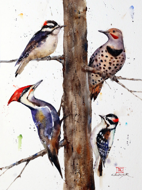 """NORTHWEST WOODPECKERS"" features four woodpecker species found in the northwest - downy, flicker, hairy and pileated. Available in a.variety of products including limited edition signed and numbered prints, ceramic tiles and coasters, greeting cards and more."