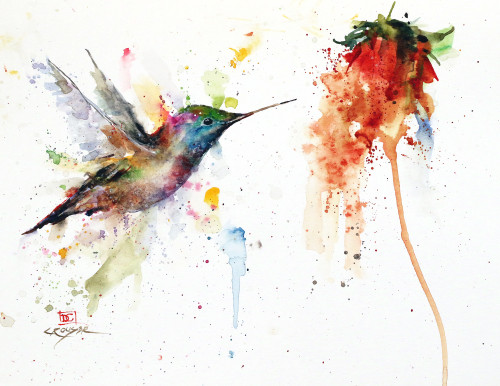 """""""LUCKY"""" original hummingbird and flower watercolor painting by Dean Crouser. Measures approximately 9"""" tall by 11-1/2"""" wide. Artist retains any and all rights to future use of this image."""
