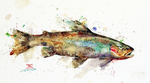 """ABSTRACT CUTTHROAT"" original watercolor fish painting by Dean Crouser. This original painting measures approximately 6-1/2"" tall by 11"" wide. Here's a great opportunity to own a DC original! Artist retains any and all rights to future use of this image. Thanks for looking!"
