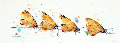 """""""BUTTERFLIES on a VINE"""" original watercolor painting by Dean Crouser. This original painting measures approximately 14"""" wide by 5"""" tall. Here's a great opportunity to own a DC original! Artist retains any and all rights to future use of this image."""