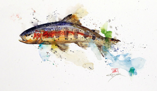 """TROUT, Sketch 3"" original watercolor fish painting. This original painting measures approximately 11-1/2"" wide by 6-1/2"" tall. Artist retains any and all rights to future use of this image."