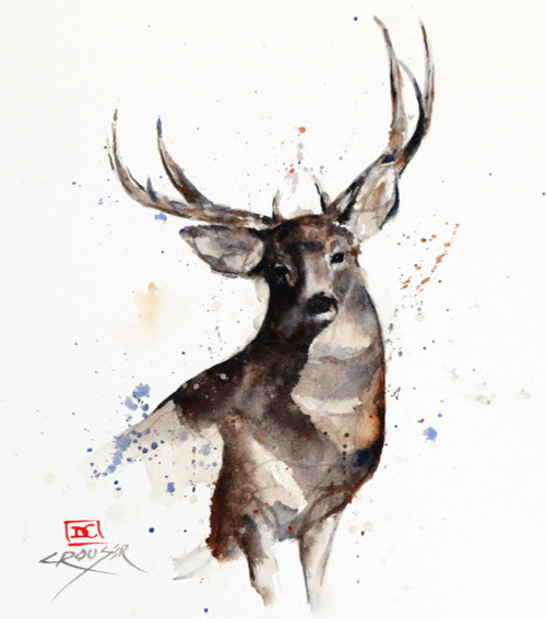 """""""MULE DEER"""" original watercolor painting by Dean Crouser. This original painting measures approximately 7-3/4"""" wide by 8-1/2"""" tall. Artist retains any and all rights to future use of this image. Thanks for looking!"""