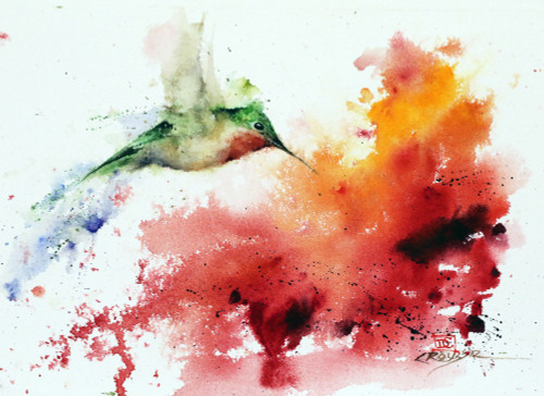 """""""BACK for MORE"""" original watercolor hummingbird painting by Dean Crouser. This original painting measures 10"""" wide by 7"""" tall. Here's a great opportunity to own a DC original! Artist retains any and all rights to future use of this image. Thanks for looking!"""