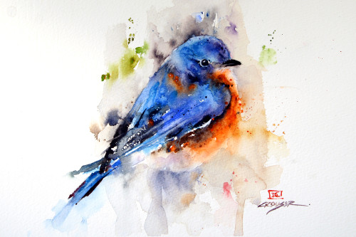 """""""SPRINGTIME BLUEBIRD"""" bird art from an original watercolor painting by Dean Crouser. Available in limited edition signed and numbered prints, ceramic tiles and coasters, greeting cards and more."""